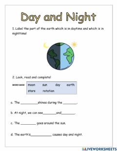 Interactive worksheet Day and Night Worksheet