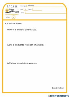 Interactive worksheet 1.º ano - Exp.Live JC