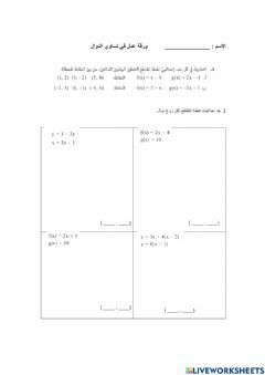 Interactive worksheet تقاطع دوال