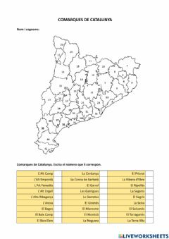 Interactive worksheet Comarques de Catalunya