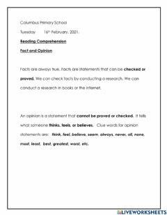 Interactive worksheet Fact and Opinion