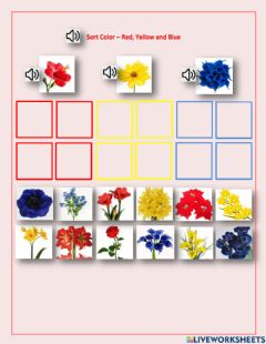 Interactive worksheet Sort Flower - red, yellow and blue - DC, Emma,George, Neo, LN, Dashly - 1.02