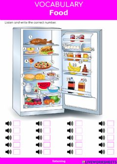 Interactive worksheet Food - What's in the fridge