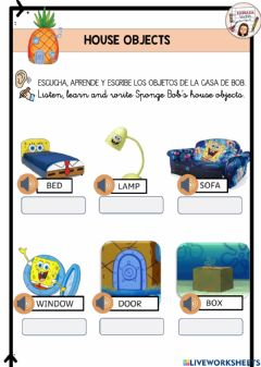 Interactive worksheet House objects