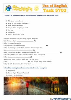 Interactive worksheet Spotlight 5 Task 5703