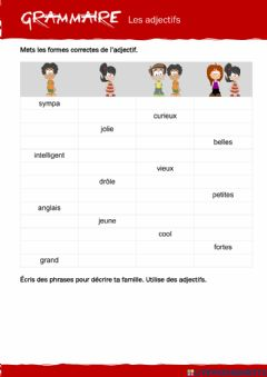 Interactive worksheet GRAMMAIRE - Adjectifs