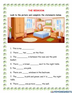 Interactive worksheet The bedroom