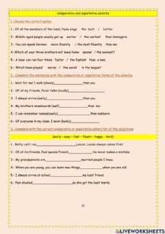 Interactive worksheet Adverbs comparative & superlative