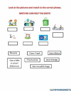 Interactive worksheet Ways to help the earth