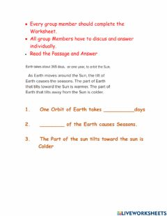 Interactive worksheet Why seasons happen Groupwork P3