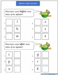 Interactive worksheet Abc before and after 3