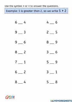 Interactive worksheet Comparing Numbers - More than or Less than