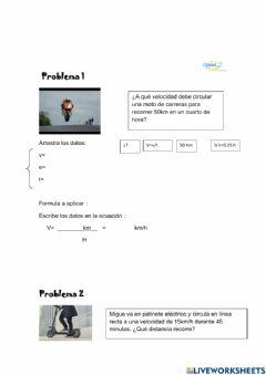 Interactive worksheet Movimiento rectilineo uniforme