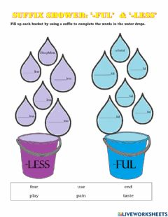 Interactive worksheet Suffix Shower- -ful and -less