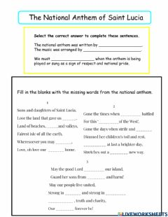 Interactive worksheet The National Anthem of Saint Lucia