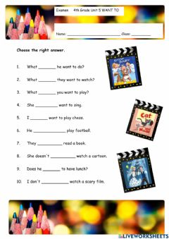 Interactive worksheet Want to