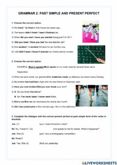 Interactive worksheet Grammar 2: Past simple and present perfect