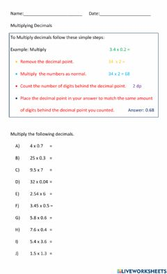 Ficha interactiva Decimal Multiplication
