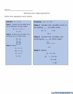 Interactive worksheet Solving two step equations