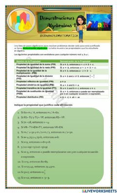 Interactive worksheet Demostraciones algebraicas 1