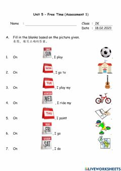 Interactive worksheet Unit 5 - Free Time (Assessment 1)