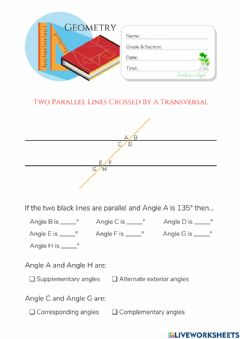 Interactive worksheet Two Parallel Lines Crossed By A Transversal (HuntersWoodsPH Montessori Geometry)