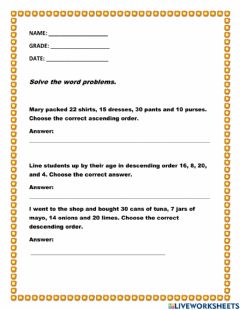 Interactive worksheet Ascending and Descending Word Problems