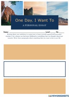 Interactive worksheet One Day, I Want To