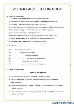 Interactive worksheet Vocabulary 2: Technology