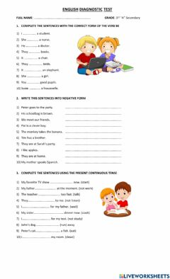 Interactive worksheet English Diagnostic Test