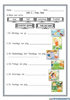 Interactive worksheet Unit 5 : Free Time
