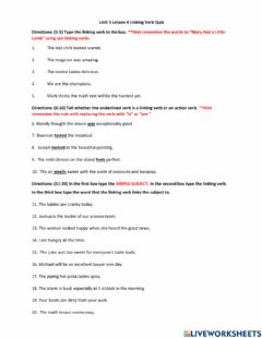 Interactive worksheet Unit 5 Lesson 4 Linking Verb Quiz