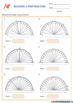 Interactive worksheet Measuring Angles using a protractor