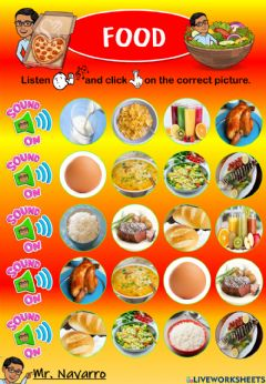 Interactive worksheet Food (Listen and click)