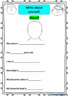 Ficha interactiva English Year 2 Lesson 1 (Write about your self)