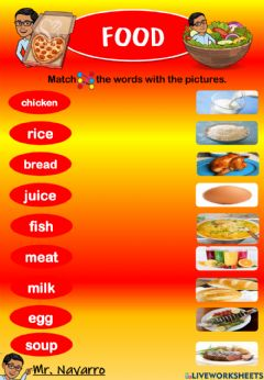 Interactive worksheet Food (Match the words with the pictures)