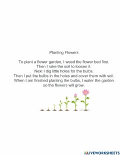 Interactive worksheet Planting flowers sequencing