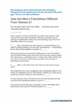 Ficha interactiva How Are Men's Friendships Different From Women's?