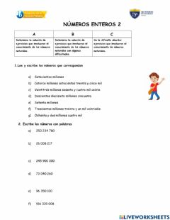 Interactive worksheet NUMERACIÓN 2