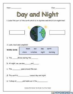 Interactive worksheet Day and Night Worksheet for Grade 1