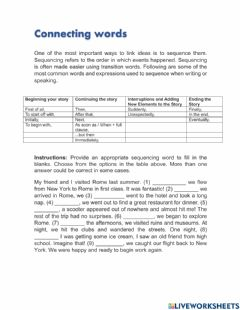 Interactive worksheet Connecting words