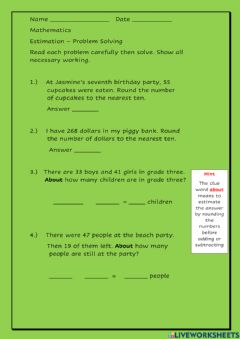 Interactive worksheet Estimating-Rounding Word Problems