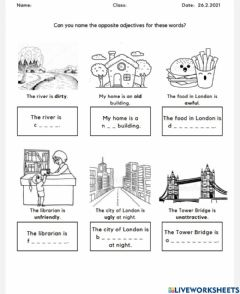 Interactive worksheet Towns and cities