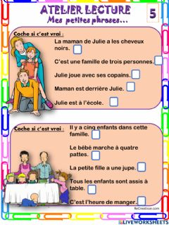 Interactive worksheet Mes petites phrases 5