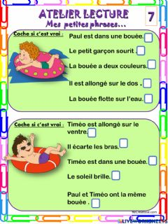 Interactive worksheet Mes petites phrases 7