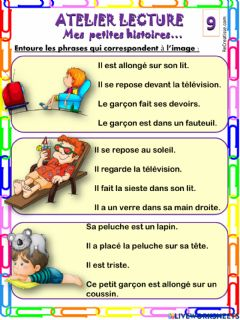 Interactive worksheet Mes petites phrases 9