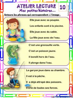 Interactive worksheet Mes petites phrases 10