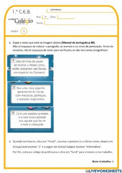 Interactive worksheet 2.º ano - Exp.Live GC