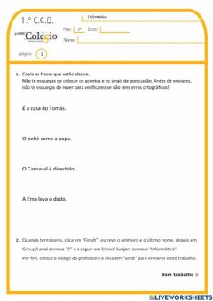 Interactive worksheet 2.º ano - Exp.Live T.
