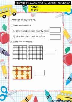 Interactive worksheet Numbers up to 1000